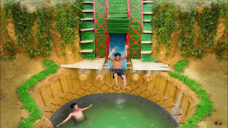 兄弟俩实力秀技术,野外徒手打造豪华泳池房,网友:避暑胜地!