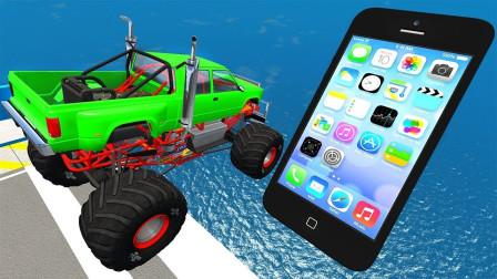 """疾驰的汽车能翻越""""巨型iPhone""""吗?3D动画模拟,场面太刺激!"""