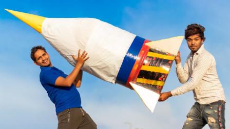 印度民间牛人神操作,家中自制火箭,起飞瞬间惊呆众人!