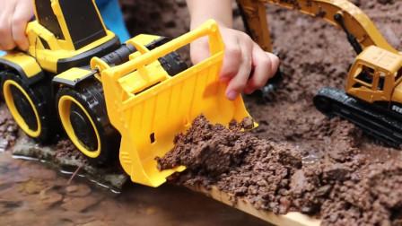 工程车 玩具车 挖掘机 推土车 挖土车,运土挖沙模拟救援故事,有趣的儿童玩具车视频