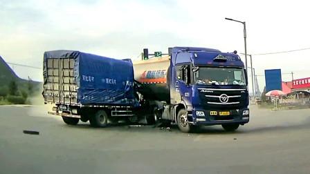 交通事故合集:三轮车大爷横穿马路,货车师傅的反应令人叹服