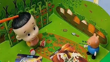 小猪一家都出去上班了,乔治的家人都是什么工作呢,乔治来打理菜园