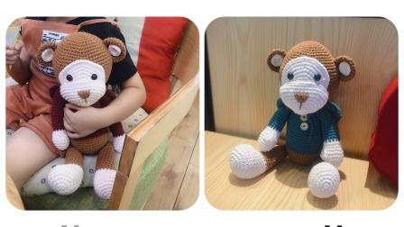 【菲儿妈手作 第119集】可爱猴子毛线玩偶 牛奶棉手工编织diy动物玩偶零基础视频教程