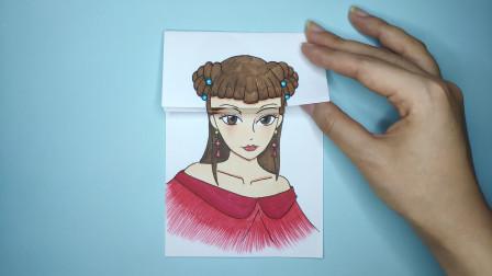 一张纸给精灵梦叶罗丽齐娜换3次发型,手绘最后戴上王冠太美了
