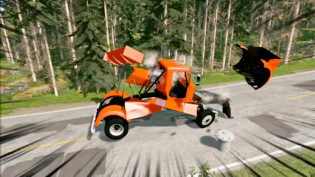车祸模拟器84 施工队把隔离桩安在马路中央 百万超跑一秒变废铁
