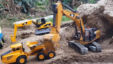 工程车 挖掘机 运输车 挖土车,运土挖沙工程模拟,有趣的儿童玩具车视频
