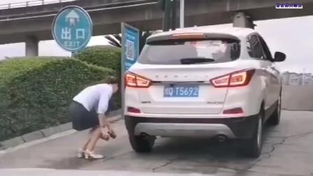 遇到女司机了,不敢问也不敢说这是在干嘛