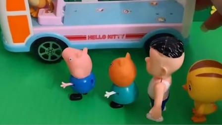 乔治和伙伴们排队上车了,僵尸来插队,乔治和伙伴们叫来了奥特曼!