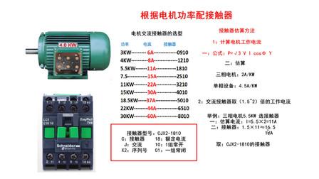 如何根据电机该功率选择交流接触器?老电工把计算公式教你
