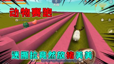 迷你世界:动物赛跑,迷撕拉放猪套路兔美美,太可恶了!