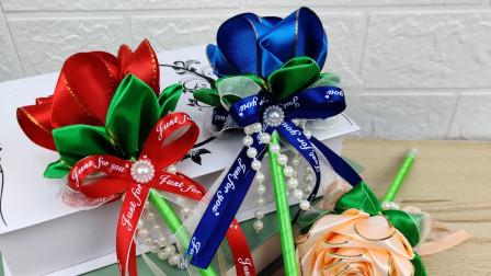 长款丝带玫瑰笔花学习教程教师节的礼物 外星客花艺