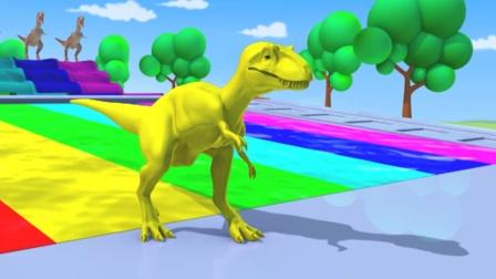 5只恐龙跳进了五颜六色的水池中