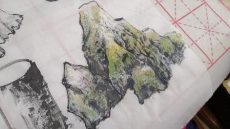 公益国画班第一节山水画课学习剪影