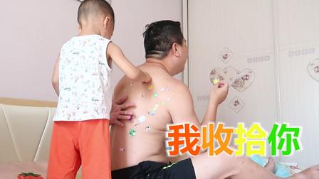 爸爸中午12点赖床不起,2岁孩子看不下去了,替妈妈狠狠的收拾他
