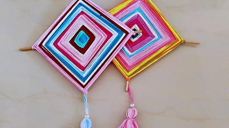 旧毛线不要丢,搭配筷子制作工艺品,成品很漂亮
