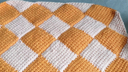 阿富汗钩针花样,方块效果,不用拼接不用缝