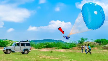 把降落伞绑在汽车上能上天吗?老外亲测,结果你猜怎么着!