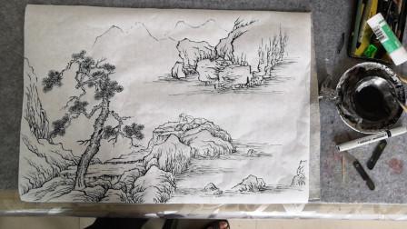 小山水画《听泉图》示范3