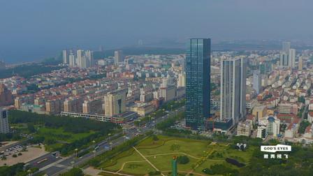 航拍烟台开发区第一高楼,天马大厦,177米