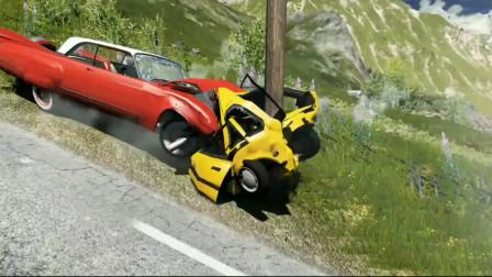 车祸模拟器97 小伙子赶时间参加比赛 开车走神飞上广告牌