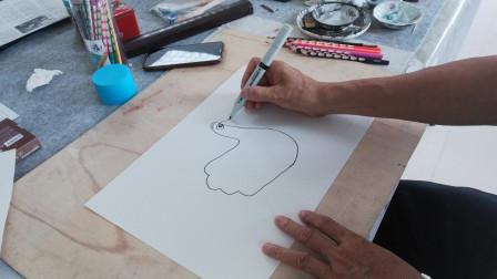 趣味手形卡通画示范1