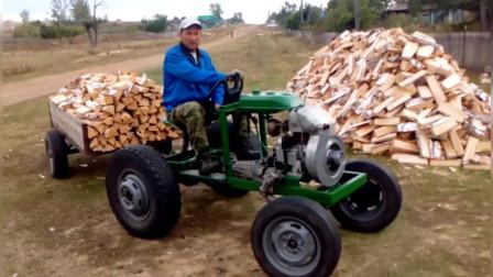 """""""自己动手丰衣足食""""农村大叔买不起拖拉机,于是动手改造了一台"""