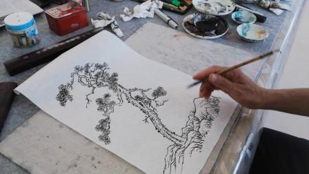 听泉图松树画法示范