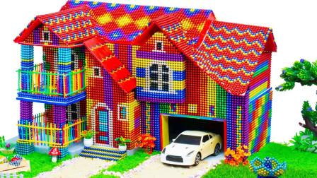 用巴克球建带花园和车库的巨型别墅房,草莓彩虹色爱了爱了