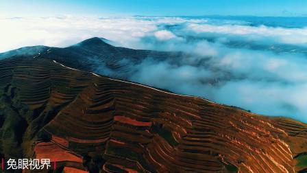 一直以为黄土高原很干旱,这个叫定西的地方出现难得云遮雾绕景观
