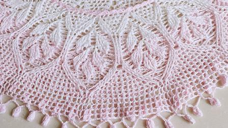 钩针豆芽罩衫三,14行至21行钩织过程,成品很漂亮