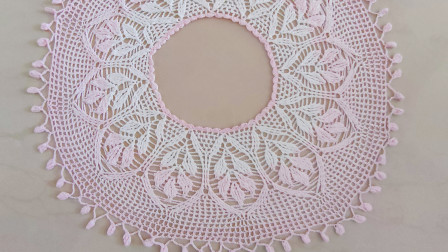 钩针豆芽罩衫四,波浪花边和豆芽花边的钩织方法