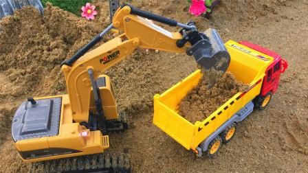 认识挖掘机卡车等5种工程车辆 小马识交通工具