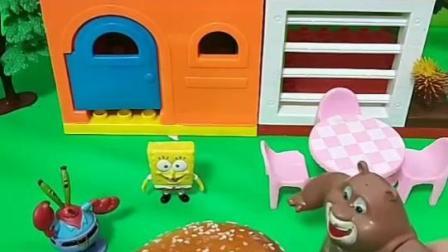 海绵宝宝给熊大做了一个超大的汉堡!