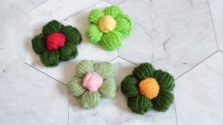 万万手工 第160集 泡芙花朵的钩法小饰品装饰剩线头钩织