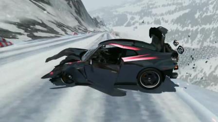 车祸模拟器104 满载油罐车雪地下坡 刹车失灵冲下悬崖