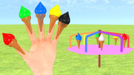 五颜六色的冰淇淋,学英语儿歌《Color Finger Family》