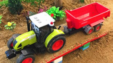 学习压路机拖拉机等工程车的名字 小马识交通工具