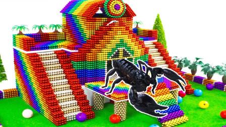 DIY-用巴克球玩具建一座太阳神宫殿,蝎子把守,盗墓贼敢来吗?