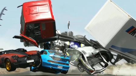 车祸模拟器105 三辆豪车急速通过路口 失控卡车冲撞变废铁