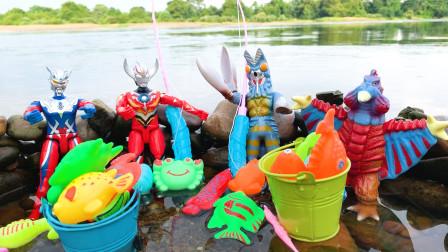 赛罗欧布奥特曼和怪兽一起比赛钓鱼,巴顿帮倒忙