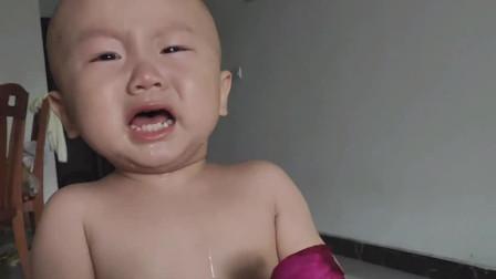 宝宝第一次吃火龙果 吓得大哭