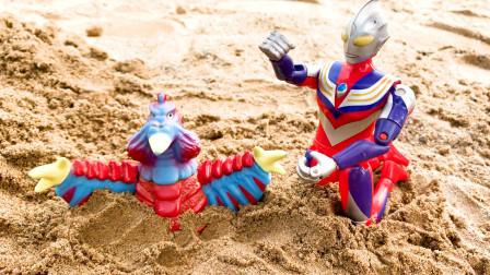 怪兽巴顿和巴尔坦玩沙子,迪迦奥特曼救巴顿