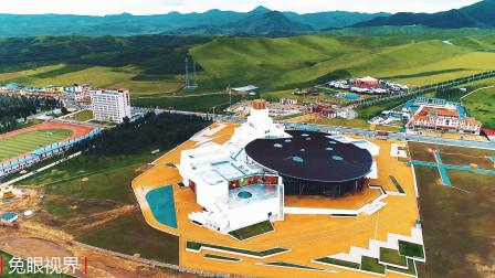 自驾甘青小环线,航拍甘南草原新地标,这座建筑据说用100天建成