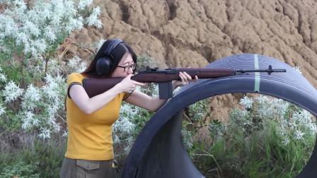 M14自动步枪,美女靶场实弹射击测试,这后坐力可真不小
