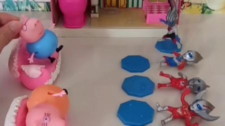 佩奇乔治给奥特曼的糖果,被贝利亚抢走了,乔治要好好教训一下怪兽!