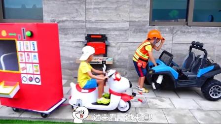 萌娃小可爱可真会玩!小家伙自制的售卖机可真是有趣呢!—萌娃:购物请投币