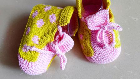 圆点毛线鞋二,鞋底的挑针,提花的编织