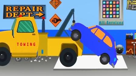 拖吊车拖着故障车去修理厂进行维修