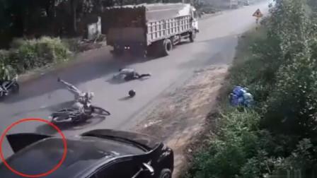 新手开车才这样,老司机不会犯这种错误,监控拍下全过程!