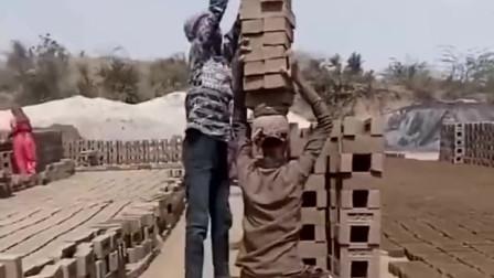 印度农村搬砖,这搬砖的技术太厉害了,这是高手!